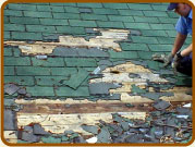 Raccoons have done a lot of damage to this roof